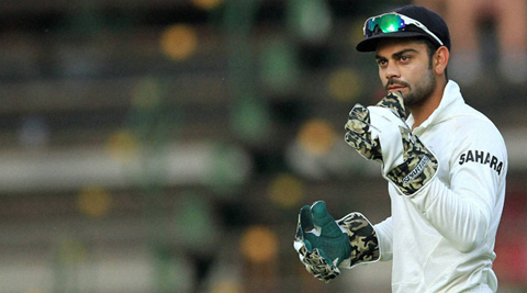 India batsman Virat Kohli with the gloves as MS Dhoni opted to bowl in South Africa (File)