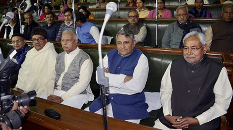 Patna: Bihar Chief Minister Nitish Kumar attending the budget session of Assembly in Patna on Friday.