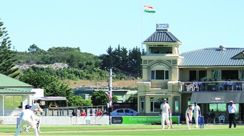 Ishwar Pandey bowls at the Cobham Oval in Whangarei on Sunday. He was the highest wicket-taker for the visitors, flaunting figures of 3-42 from 14 overs. (Daksh panwar)