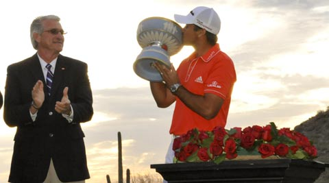 Jason Day kisses the Walter Hagen Trophy after winning the final round of the World Golf Championships - Accenture Match Play Championship at The Golf Club at Dove Mountain (Photo: USA Today Sports)