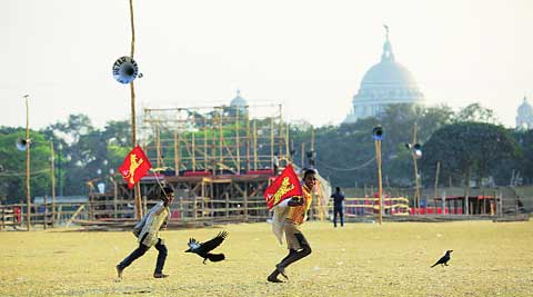 Preparation underway at Brigade Parade Ground in Kolkata on the eve of Left Front rally on Saturday. Subham DUtta