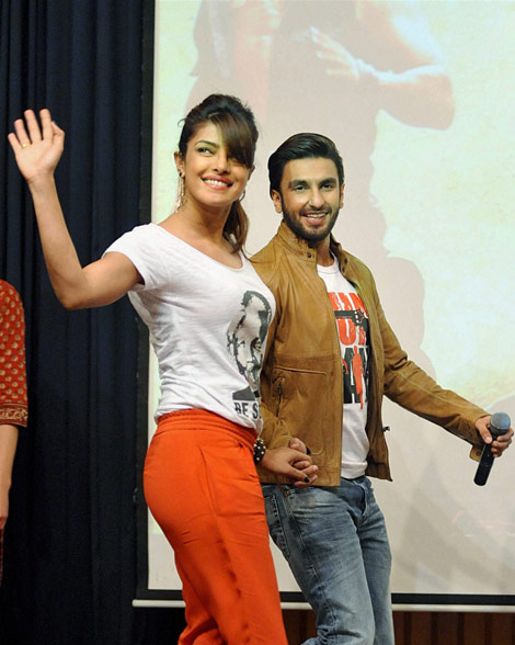 Priyanka Chopra with Ranveer Singh in new Delhi. (PTI)