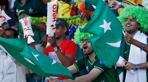 Fans cheer during the India Pakistan match. (Reuters)