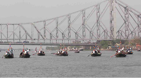 Howrah Bridge, would go semi-dark for an hour on Saturday under the Earth Hour campaign to support conservation of energy. (IE Photo)