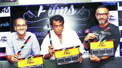 Film-makers Rohan Sippy, Anurag Basu and Abhinay Deo at the launch of MTV Films