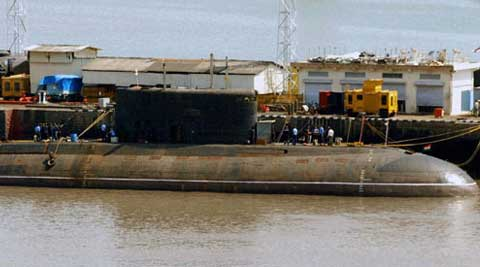 INS Sindhuratna has been rendered inoperable after a battery pit fire that killed two of its officers. (PTI Photo)