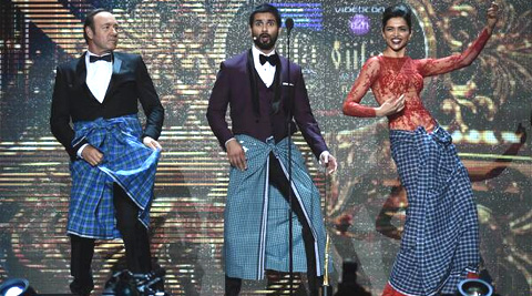 Kevin Spacey surprised the audience as he donned a lungi and danced with Deepika Padukone.