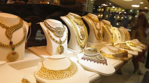 Gold prices declined by Rs 50 to Rs 28,350 per 10 grams at the bullion market in the national capital.