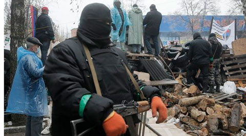 Pro-Moscow protesters have seized a number of government buildings in the east over the past week, undermining the authority of the interim government in the capital, Kiev. (AP)