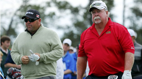 U.S. golfers Kevin Stadler and his father Craig Stadler (R) stand at the first tee during a practice round ahead of the Masters golf tournament at the Augusta National Golf Club in Augusta on Tuesday. (Reuters)