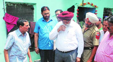 Mayor Harcharan Singh Gohalwaria at ward no.33 in Fatehgarh Mohalla in Ludhiana on Tuesday