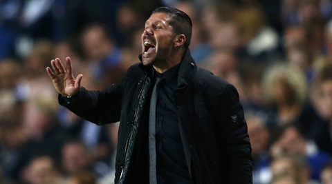 Atletico Madrid's coach Diego Simeone reacts during their Champions League semi-final match against Chelsea on Wednesday. (Reuters)