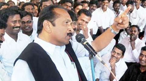 Vaiko held a black-flag demonstration at Jantar Mantar, NewDelhi against the visit of Sri Lankan President Mahinda Rajapaksa for Narendra Modi's swearing-in ceremony. (Express Archive)