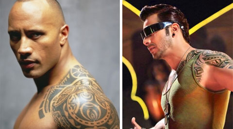 The tattoo covers Varun's left shoulder, chest and biceps just like it does for Dwayne, also popularly known as 'The Rock'.