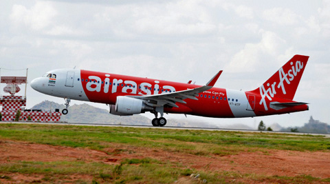 An AirAsia India Airbus A320 takes off as it embarks on the carrier's inaugural domestic flight to Goa from the Kempe Gowda International Airport in Bangalore. (PTI)