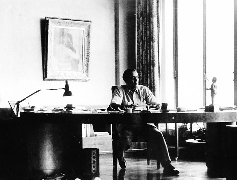 Dr Homi Bhabha at his desk at home Courtesy: TIFR archive