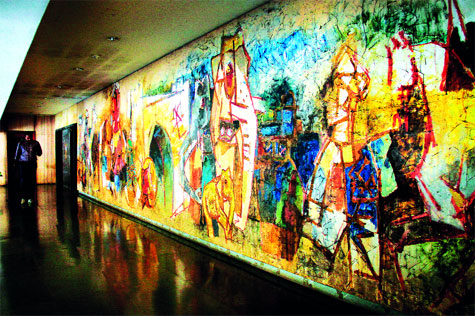 A mural by MF Husain at TIFR, commissioned by the scientist | Source: Amit Chakravarty