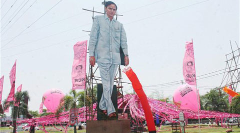 Preparations underway for the swearing-in ceremony of Telangana Rashtriya Samithi (TRS) government in Hyderabad on Saturday. (Source: PTI)