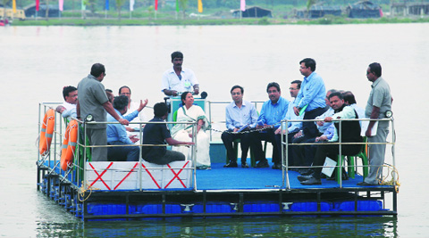 Chief Minister Mamata Banerjee returns after a meeting with businessman, ministers and officials at Eco Tourism Park in Rajarhat on Monday. Source: PARTHA PAUL