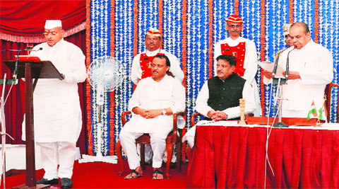 Former NCP state president Bhaskar Jadhav during the swearing-in ceremony in Mumbai. (Source: Express photo)