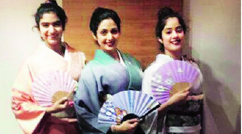 Sridevi with her daughters Jahnavi and  Khushi