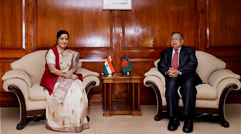 External Affairs Minister Sushma Swaraj with her Bangladeshi counterpart Abul Hassan Mahmood Ali in Dhaka on Thursday. Source: PTI Photo