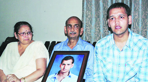 Rahul's family at their residence on Tuesday. (Express)