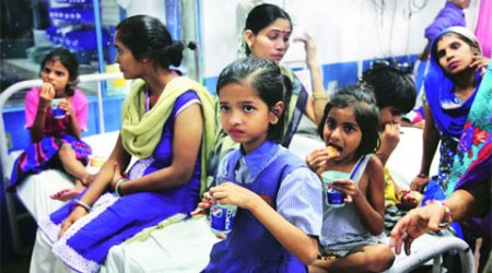 Children admitted to Lal Bahadur Shastri hospital. All are stable, doctors said. (Express Photo: Amit Mehra)