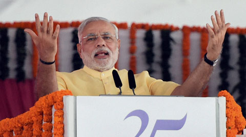 Prime Minister Narendra Modi said that 'we can be the world leader by not following but by showing the way.' (Source: PTI)