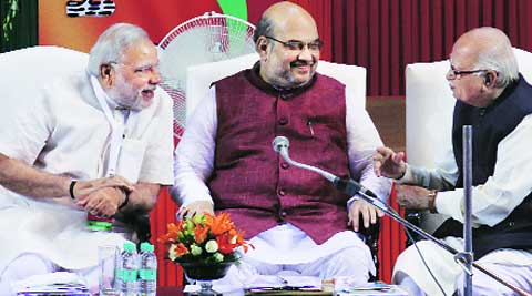 During his speech, BJP National president Amit Shah did not mention anything about the political scenario in Delhi though many senior state leaders were expecting him to do so. (Source: Express photo by Prem Nath Pandey)