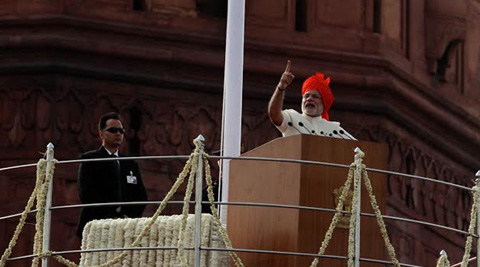 Prime Minister Narendra Modi Addressing the nation on India's 68th Independence Day at The Red Fort on Friday. (Source: Express photo by Neeraj Priyadarshi)