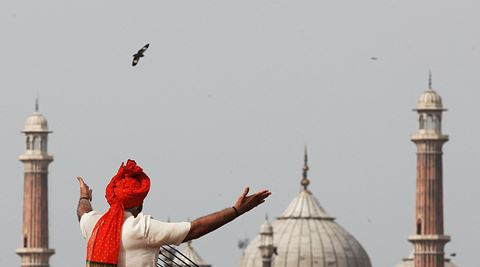 Prime Minister Narendra Modi addressing the nation on India's 68th Independence Day at  the Red Fort on Friday.  (Source: Express phot by Neeraj Priyadarshi)