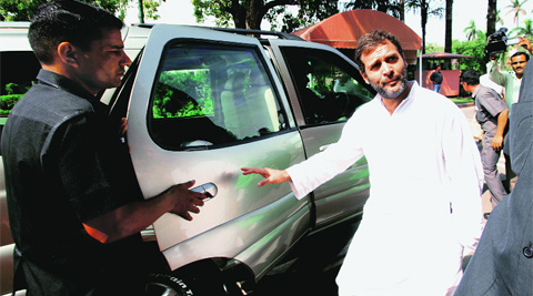 Rahul Gandhi outside Parliament on Wednesday. Source: Renuka Puri