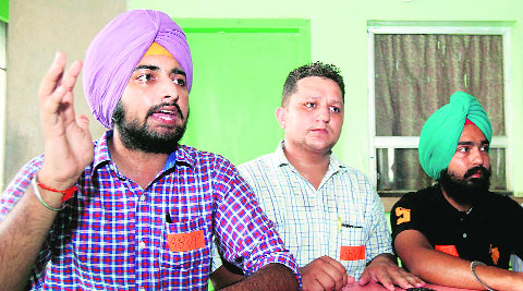 ABVP leaders during a press conference at Panjab University on Wednesday.