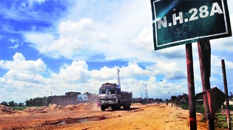 The 68-kilometre national highway is mostly a dirt track near Raxaul.  Source: Prashant Ravi