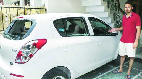 The vandalised car of victim Inderpreet Singh Saini.