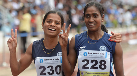 Dutee Chand (left) with Asha Roy. (Express File Photo)