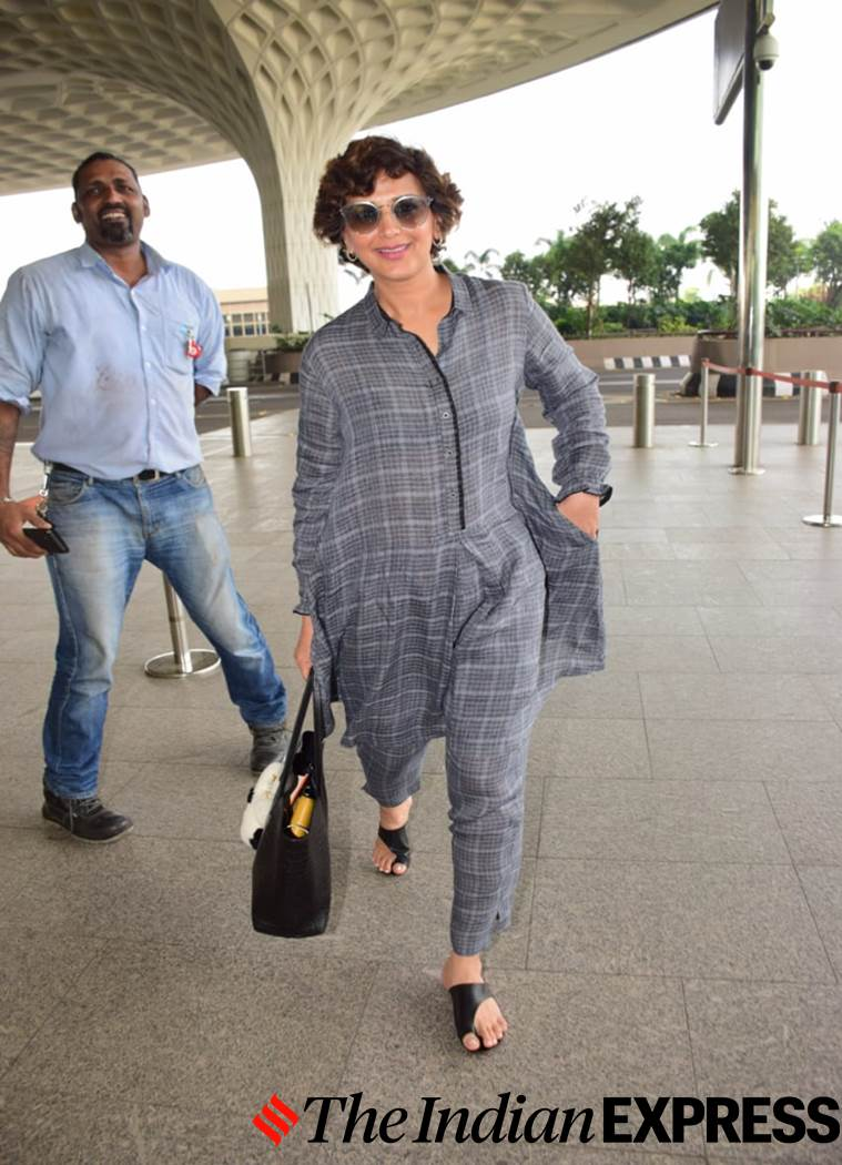 Sonali Bendre. airport look, airport looks, Indian Express, Indian Express news