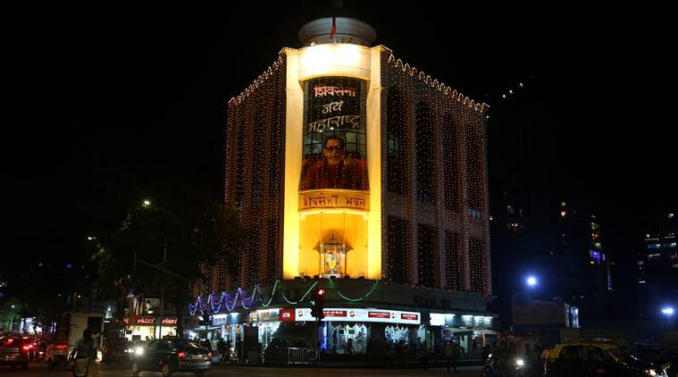Illuminated Shivsena Bhavan at Dadar. (Express Photo by Prashant Nadkar)