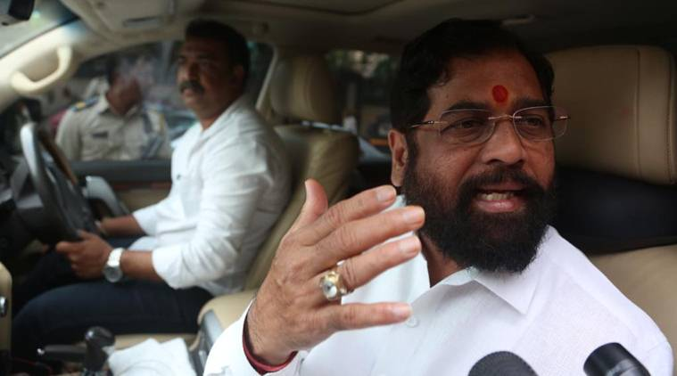 Shiv Sena leader Eknath Shinde to meets Party president Uddhav Thackeray at Matoshree on Friday. Express photo by Prashant Nadkar