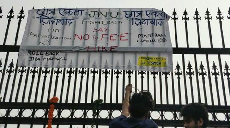 JNU students protest over steep fee hike.