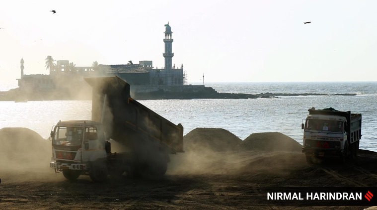 The work on the multi-crore Coastal Road project resumes on Sunday. The authorities will have to ensure food and shelter for the workers.  Express photo by Nirmal Harindran, Mumbai